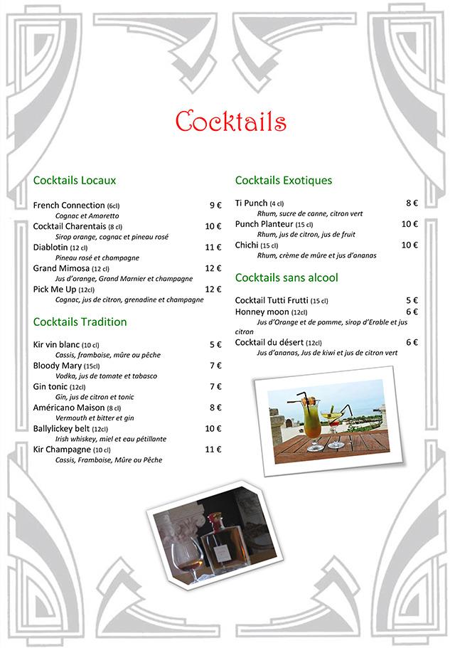 Carte des cocktails